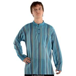 Fischerhemd türkis gestreift